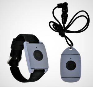 Pendant and Wrist band personal medical alert unit. MediGuardUSA, Omaha, NE